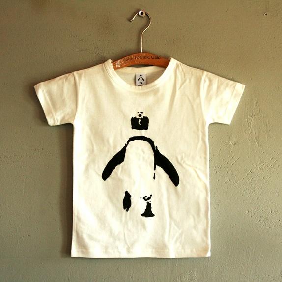 46fbc4d3 Økologisk t-skjorte barn, hvit med pingvin - Epla