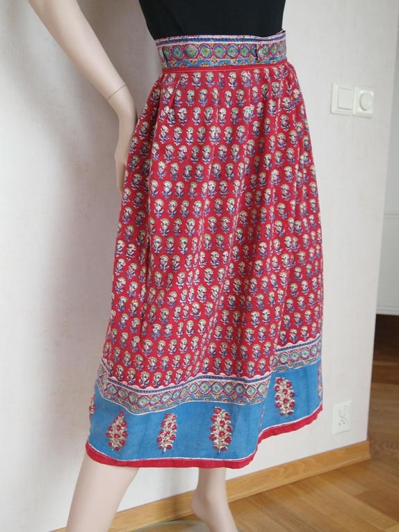 Mønstret bomullsskjørt fra 70 tallet