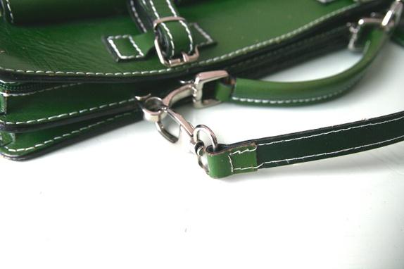 Veske dokumentmappe i grønt skinn