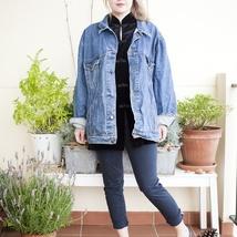 704f9240 90s olajakke, blå jeansjakke, denimjakke, 1990-talls unisex oversized  jakke, sommerjakke, ytterklær