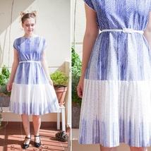 5607a26a 50% aprilSALG 80-talls blå og hvit kjole, sommerkjole
