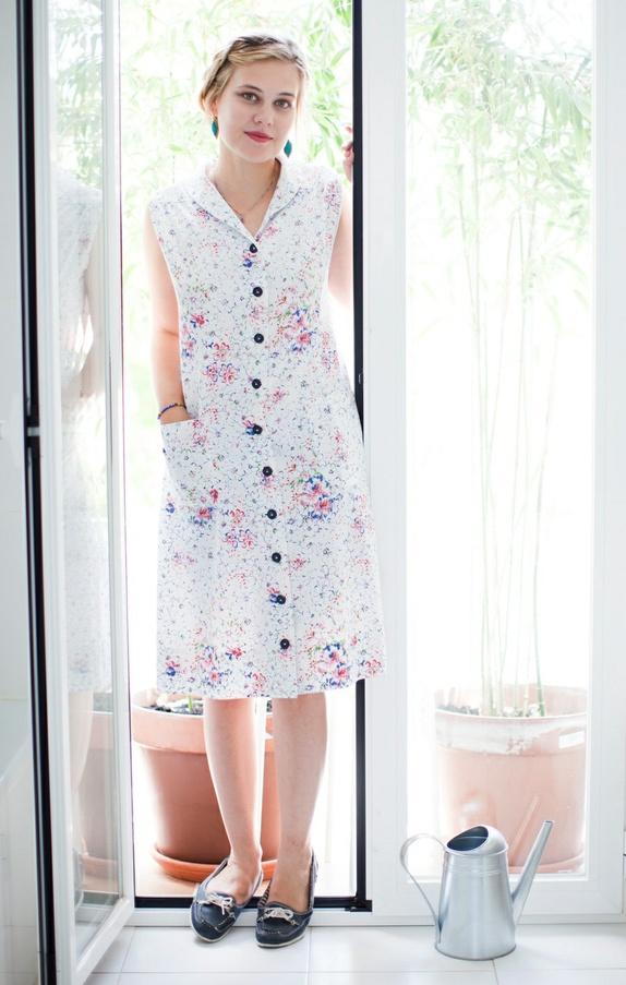 4a98f783 Vintage hvit blomstrete kjole fra 80-tallet