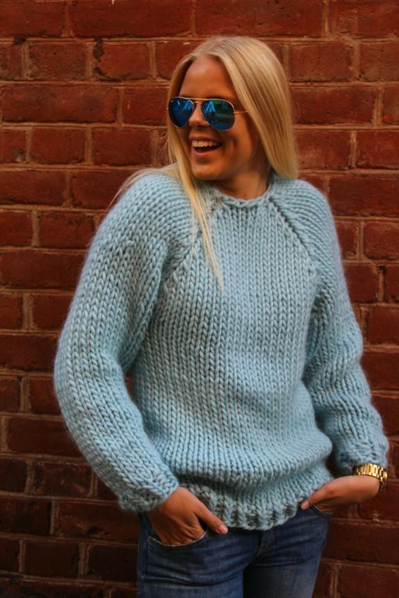Chunky isblå genser