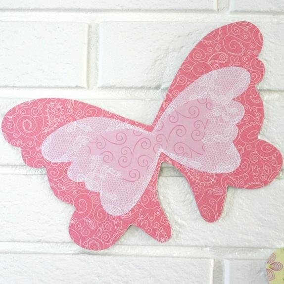 Veggpynt   1 papirsommerfugl   rosa   epla