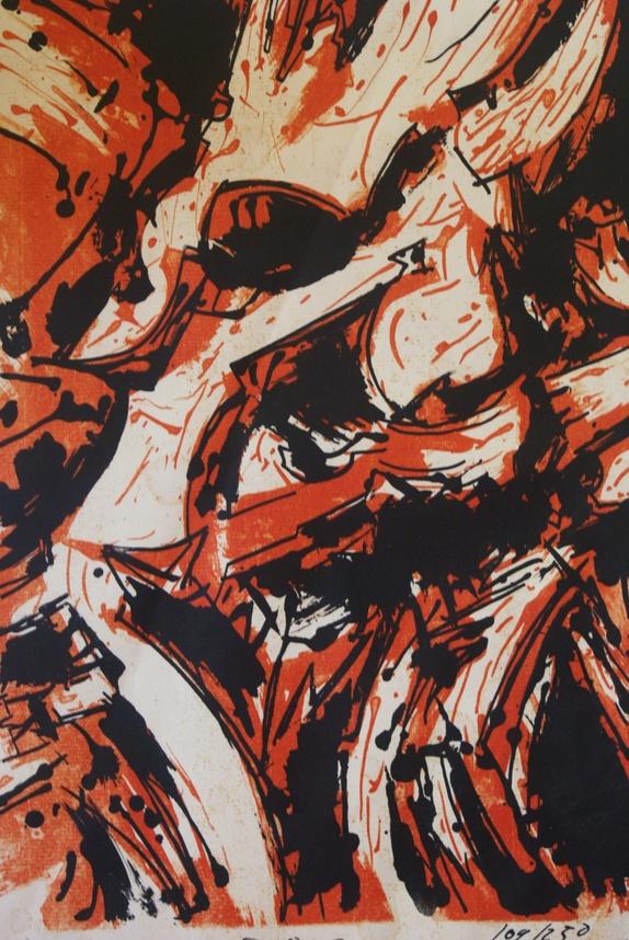 Grafisk blad- Guy Krohg - Norge - Dekorativt grafisk blad- signert Guy Krohg 109/230 + en julehilsen 1960. Ny passepartout i syrefri kartong. Trykket er i bra stand- men noen små ubetydlige bruksspor + en meget meget svak liten brett.Bildeflate- 35 cm x 23,5 cm.Med passepartout-  - Norge