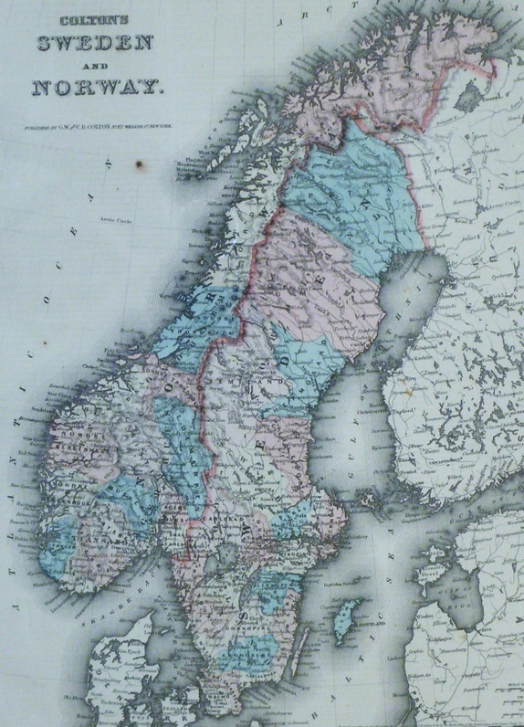 Antikt Kart Norge Sverige Epla