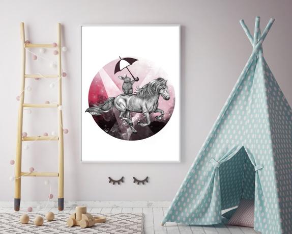 """A4 str. Illustrasjon/print av """"Flying rabbit"""" - Norge - lllustrasjon av """"Flying rabbit"""" printet på 320 gr fine art paper str. A4.Naturkvit papir med akvarellpapir-struktur.Passer perfekt i standar rammer! - Norge"""