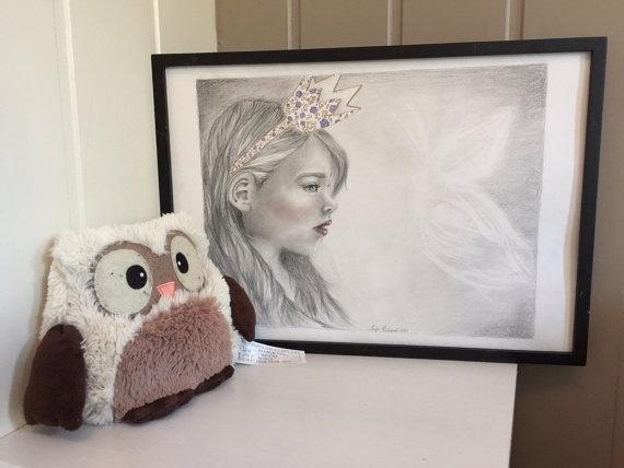 """Prinsesse"""" trykk/print a4, vegg dekor, illustrasjon, kunst ..."""