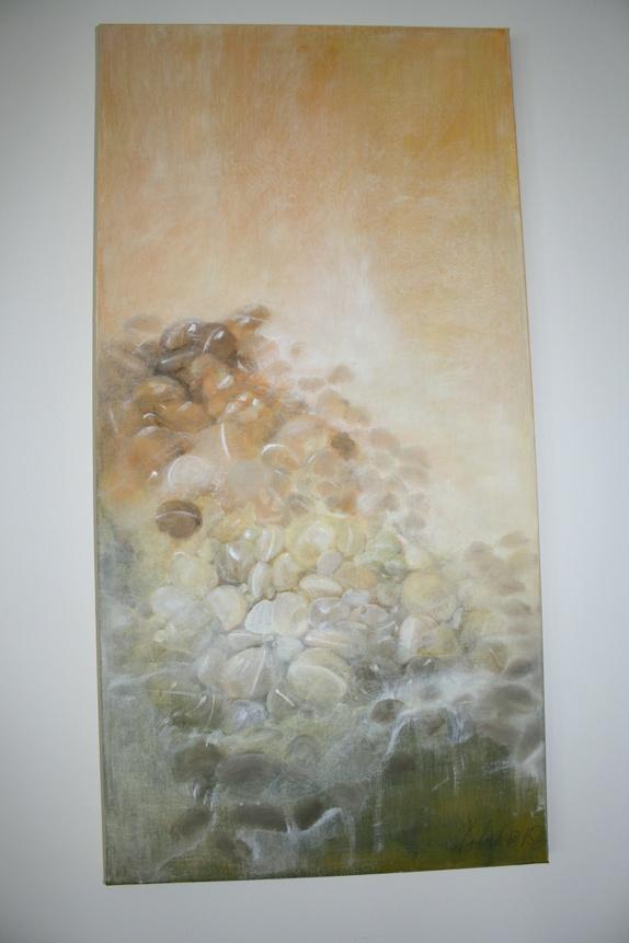 Stein-Motiv. - Norge - Maleri i varme toner av gult (oljemaleri) på lerret.Størrelse: 70x35 cm. - Norge