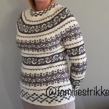 Haukeli genser (M) gråhvitburgund Epla