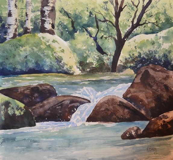 Naturbilde  akvarell - Norge - Malt på 300 grams akvarellpapir.Størrelse: 30x30 cm Lysgrønn vårfarger vårbilde foss skog steinbjørk - Norge
