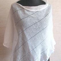 f804a3d8 kr 414,-. Lin Sjal Cape Poncho Klær Hvit Striper Striped / Klær For Kvinner