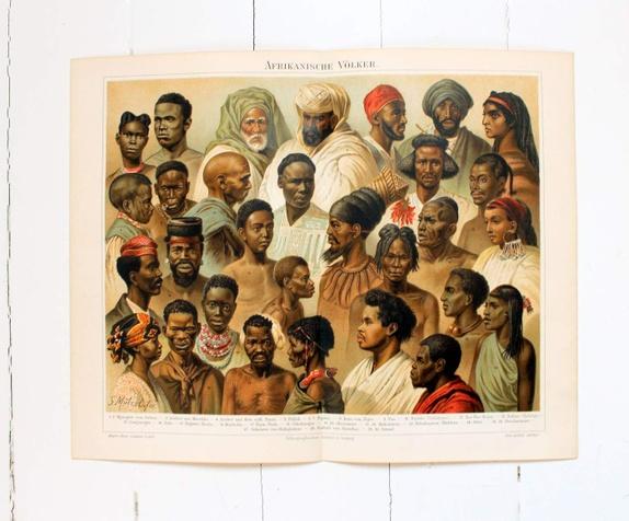 Gammelt fargetrykk, afrikanere - Norge - Fargetrykk/plansje/illustrasjon av afrikanske folkegrupper ,fra et gammelt tysk oppslagsverk fra 1897.Bildet måler 24x30 cm. Det er en brett på midten, som blir nesten usynlig når man setter det i glss og ramme. - Norge