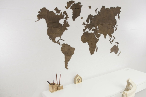 World Map Wall, World Map Hanging, World Map Wooden, World Map Wood, World Map Wall Art, World Map Large, Office World Map, World Map Poster - Norge - Dark brown colored, beautiful, large size World Map wall hanging will become any room's noticeable and striking decoration. Especially suitable for offices, kids rooms, home office rooms. World Map consists of 30 details. It can be fixed to a wall - Norge