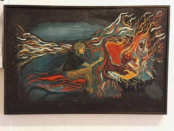 """""""Ad nauseum"""" - Norge - Kunstneren som maler seg selv som maler seg selv. Akrylmaleri på korktavle, kommer med oppheng på baksiden. - Norge"""