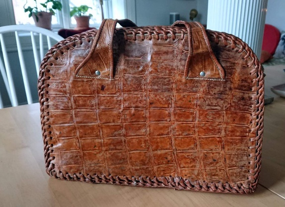 Vintage Krokodille Skinn veske Epla
