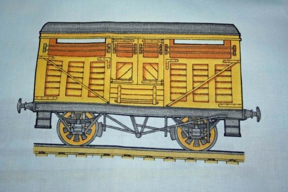 Flott stoffbit med lokomotiver   epla