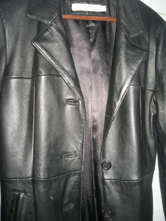 Skinnfrakklang jakke i ekte skinn fra b young, str sm Epla