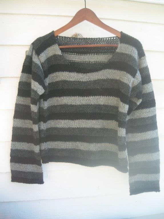 Kort, strikket genser i tre forskjellige farger Vestlandsgarn, str M - Norge - 100% ull, mykt og deilig, ikke tykt.Ypperlig til jeans og skjørt - Norge