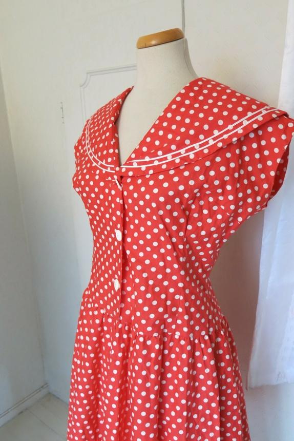 1a93f3a5 50 prikket og hvit kjole talls Epla Rød nUBq8wOfB