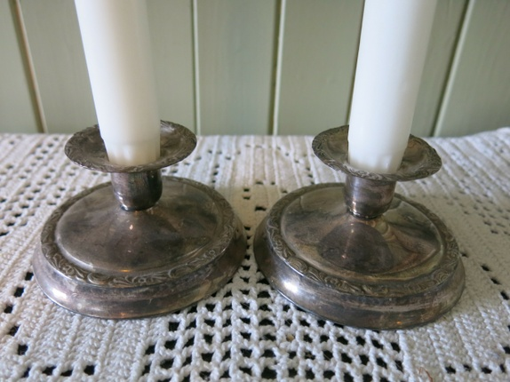 Fersk To vintage/antikke lysestaker i fattigmannssølv - Epla QH-01
