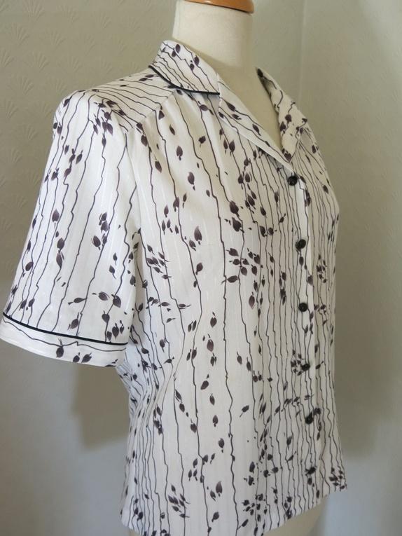 Vintage bluse med blad print Epla