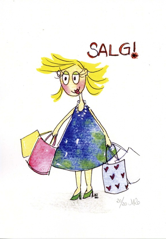 """SALG! - Norge - Trykk i begrenset opplag av min akvarell """"Salg!"""" Papir: 300 gram, 14,8 x 21 cm (A5)Motivstørrelse: ca. 11 x 14 cm Trykket opp i kun 20 eksemplarer. Signert og nummerert. - Norge"""
