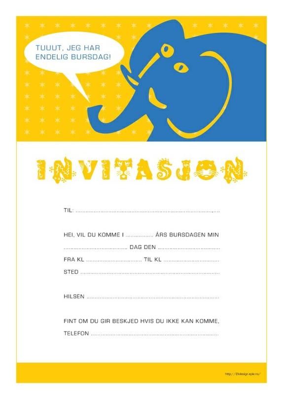 Invitasjon A4 Elefant Pdf Fil Epla
