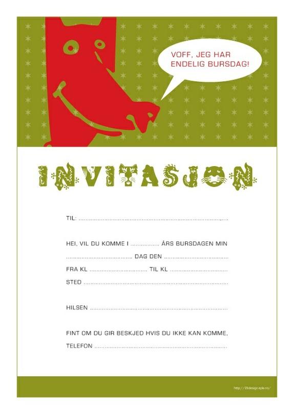 Invitasjon A4 Hund Pdf Fil Epla