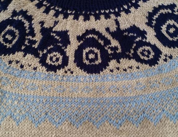 Traktor genser strikket i drops merino Extra fine
