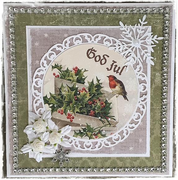 Julekort med dompaper - Norge - Hyggelig julekort som vil glede noen i jultiden.Str: ca 15 cm x 15 cm.Leveres i cellofankonvolutt. - Norge