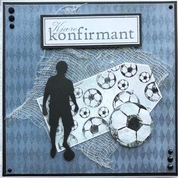 Konfirmasjonskort - Norge - Dobbelt kort i fargene blå, hvit og svart. Str: 15x15 cm, leveres med hvit konvolutt i cellofanpose. - Norge