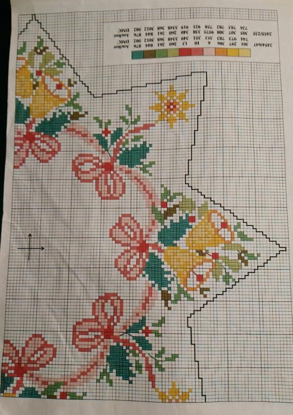5f84b83d Grønn duk 80*80cm. Ferdig opplagt med felt i Aida til å brodere på. Mønster  følger med.