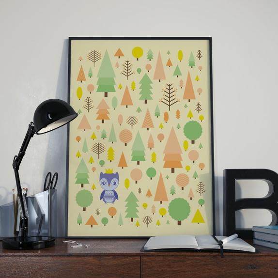 Plakat 30x40 med dyr i skogen   ugle   epla