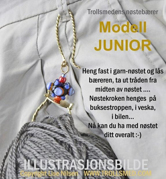 84e0110de Garnbærer, nøstekrok - blå håndlaget perle og 7 maskemarkører
